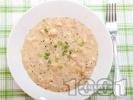 Рецепта Пиле каша фрикасе с бяло месо (филе, гърди), кисело мляко, лимон и жълтък